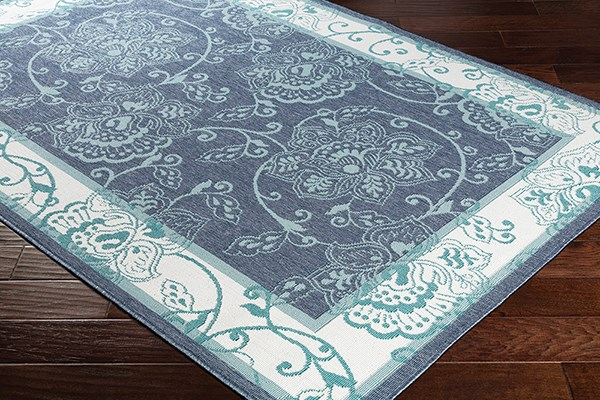 Charcoal, Aqua, White, Teal Outdoor / Indoor Area Rug