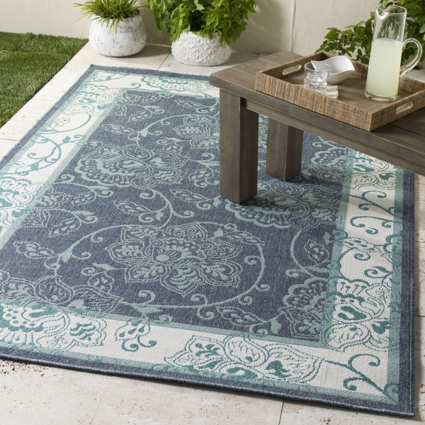 Charcoal, Aqua, White, Teal Outdoor / Indoor Area Rug