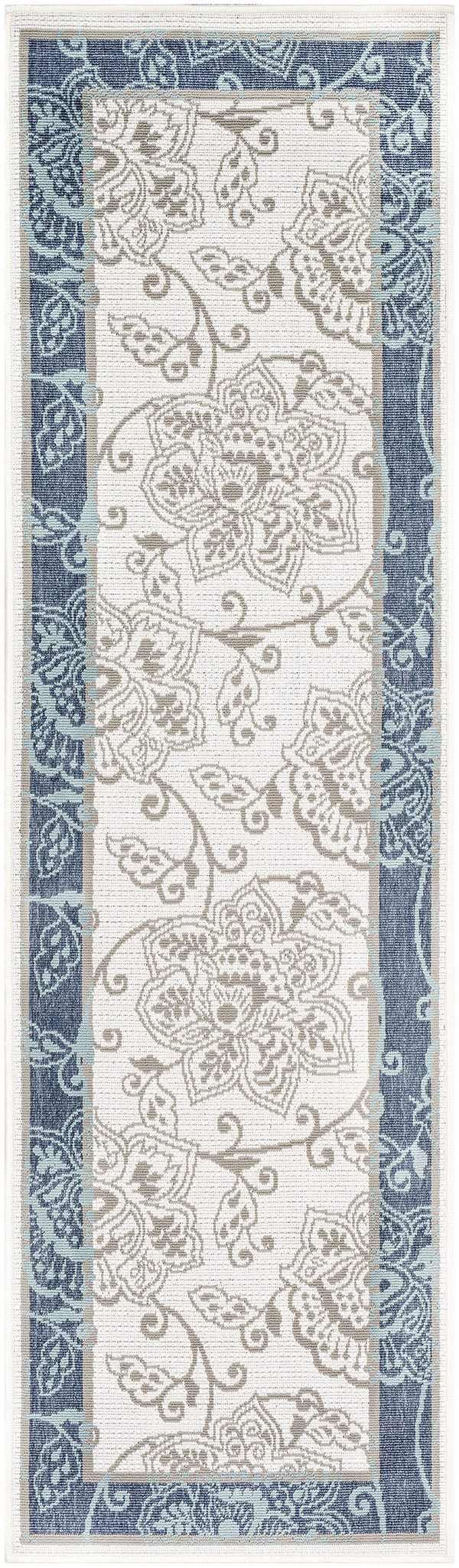 Charcoal, White, Taupe, Aqua Outdoor / Indoor Area Rug