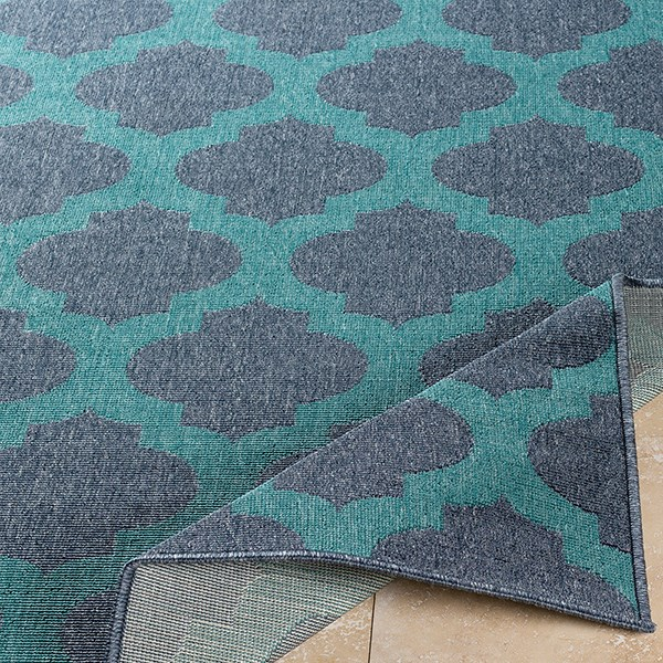 Charcoal, Teal Traditional / Oriental Area Rug