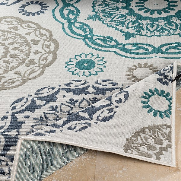 Teal, Charcoal, White, Taupe Outdoor / Indoor Area Rug