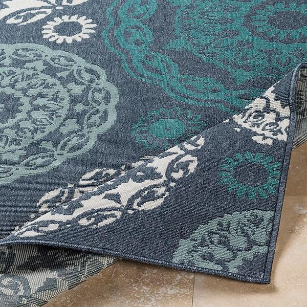 Charcoal, Aqua, Teal, White Outdoor / Indoor Area Rug