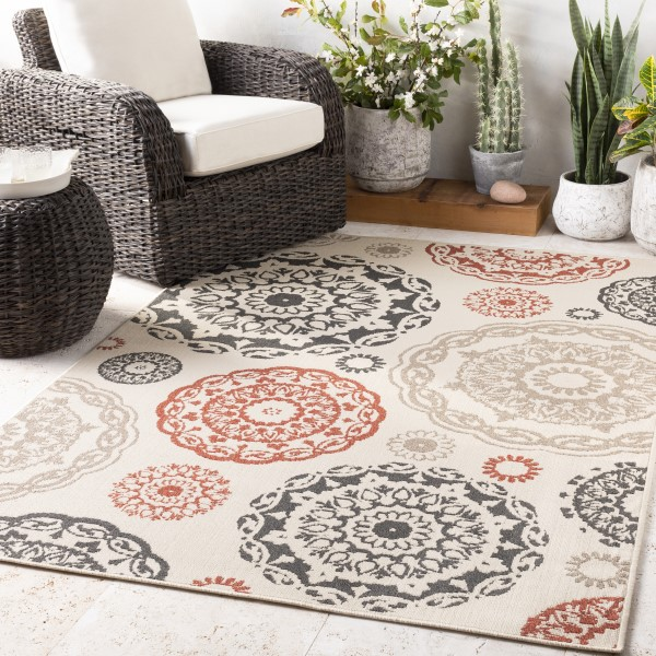 Cream, Black, Burnt Orange Outdoor / Indoor Area Rug