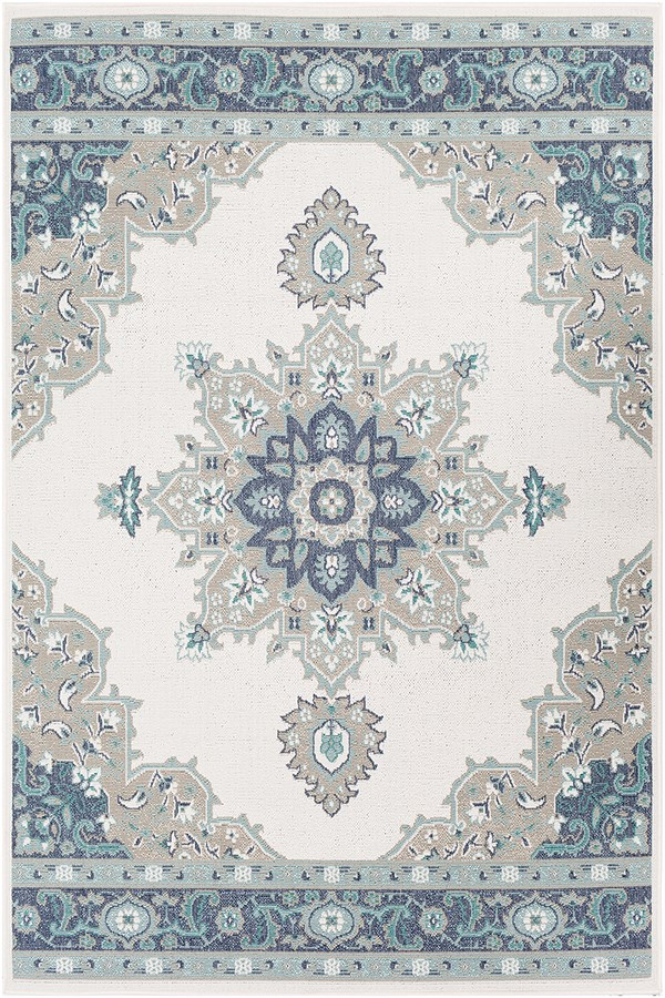Taupe, Aqua, Charcoal, White Outdoor / Indoor Area Rug