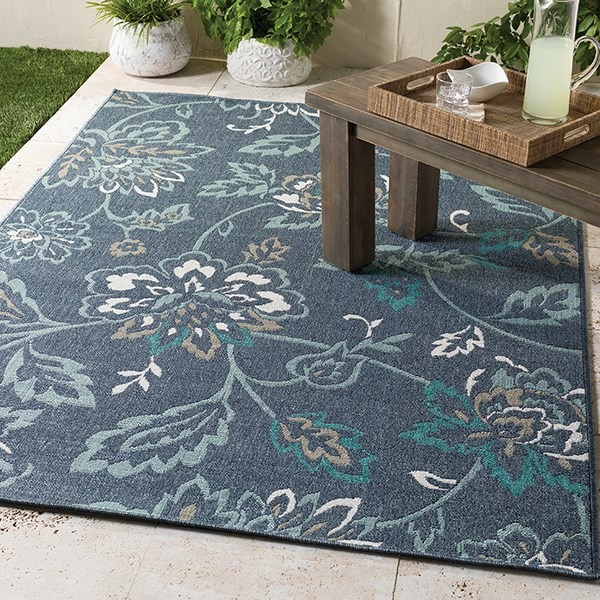 Charcoal, Aqua, Taupe, White Outdoor / Indoor Area Rug