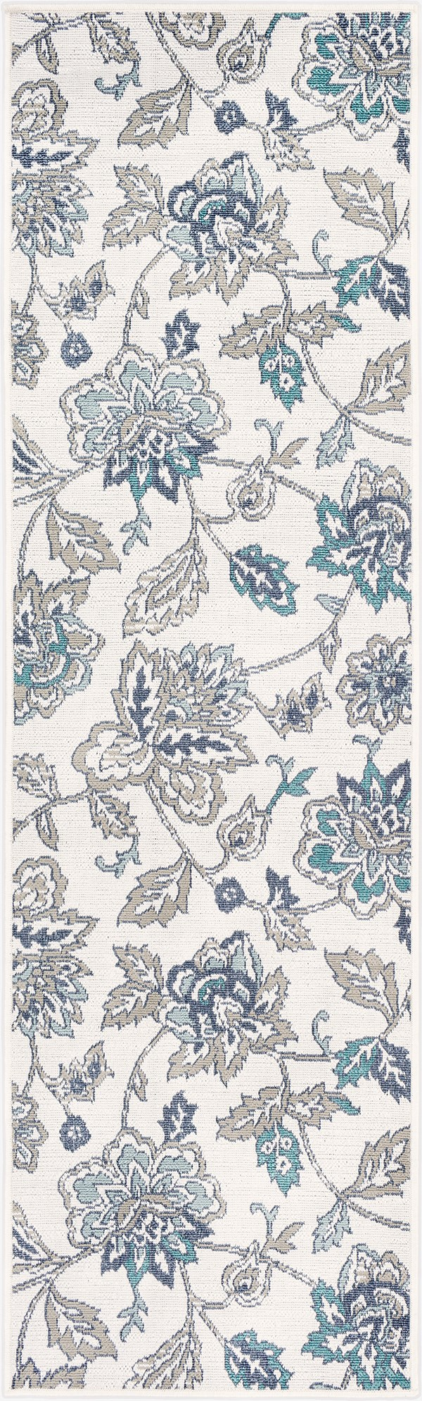 Aqua, Taupe, White, Charcoal Outdoor / Indoor Area Rug