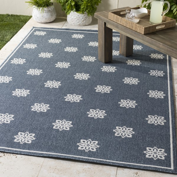 Charcoal, White Outdoor / Indoor Area Rug