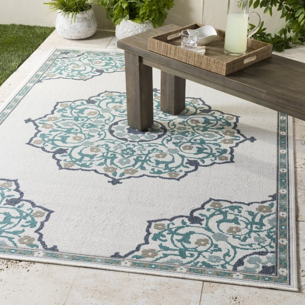 Teal, White, Black, Taupe Outdoor / Indoor Area Rug