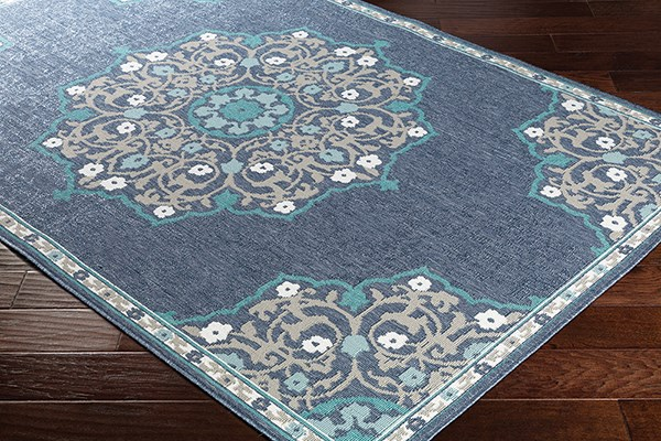 Charcoal, Taupe, Teal, White Outdoor / Indoor Area Rug