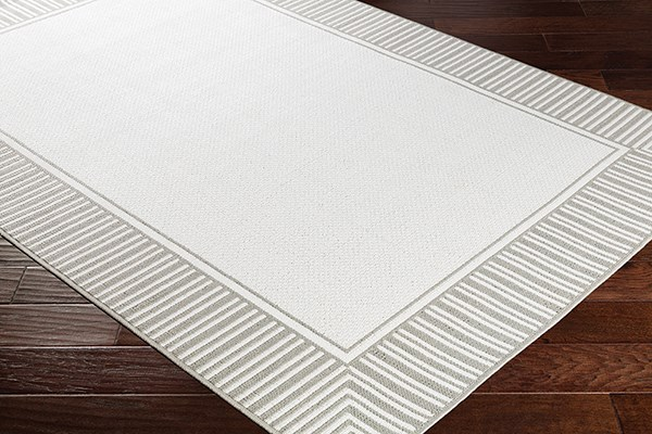 Taupe, White Outdoor / Indoor Area Rug