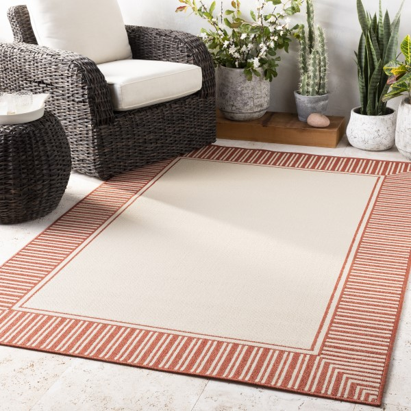Burnt Orange, Cream Outdoor / Indoor Area Rug