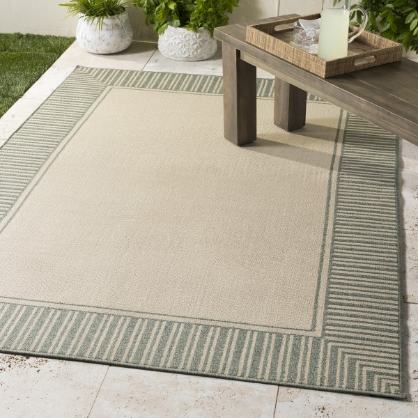 Sea Foam, Cream Outdoor / Indoor Area Rug