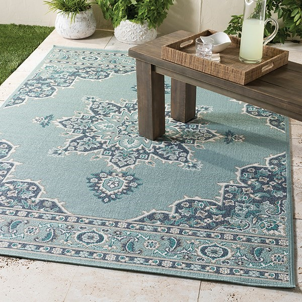 Charcoal, Teal Outdoor / Indoor Area Rug