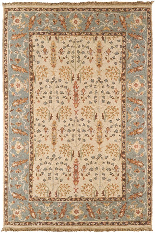 Off White, Brown, Silver Sage Traditional / Oriental Area Rug