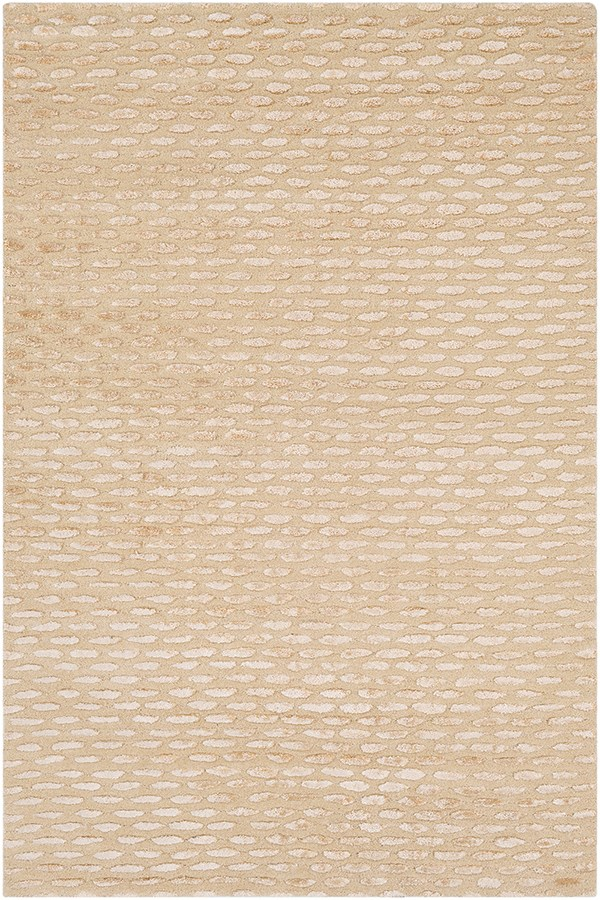Cream, Beige  Textured Solid Area Rug