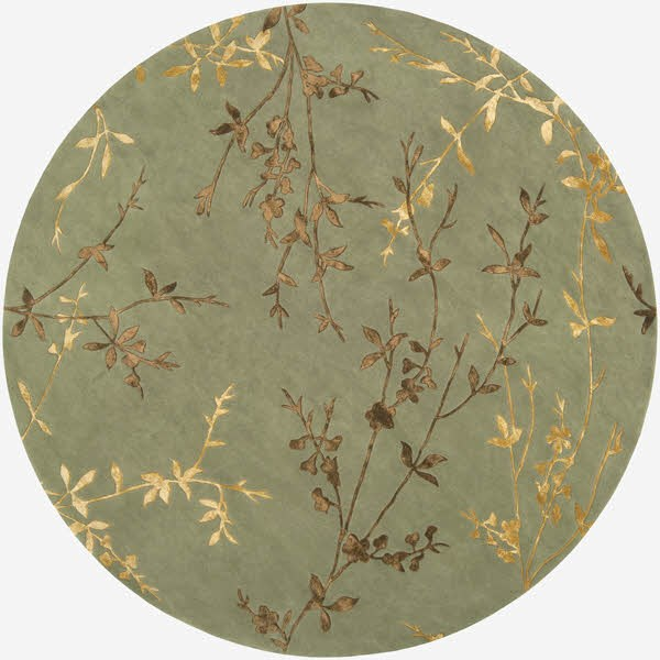 Sage, Dark Brown, Mustard Floral / Botanical Area Rug