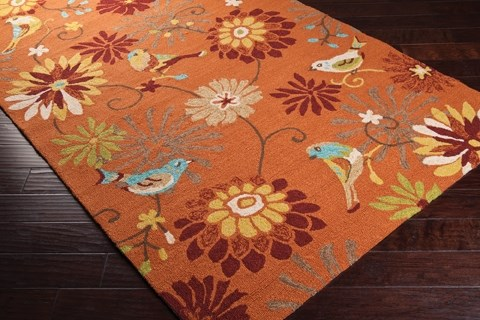Orange, Burnt Sienna, Moss Outdoor / Indoor Area Rug