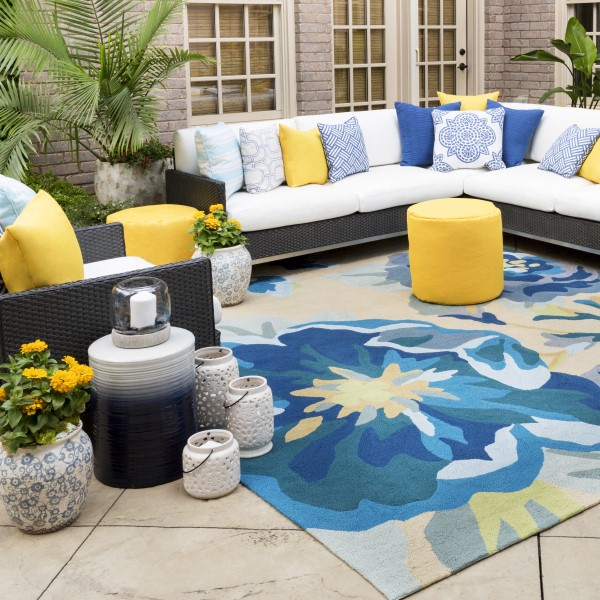 Cobalt, Aqua, Beige Outdoor / Indoor Area Rug