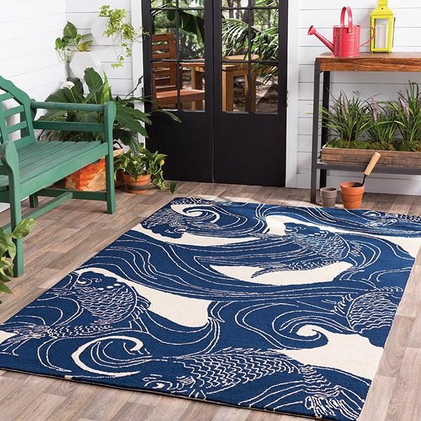 Navy, Beige Outdoor / Indoor Area Rug