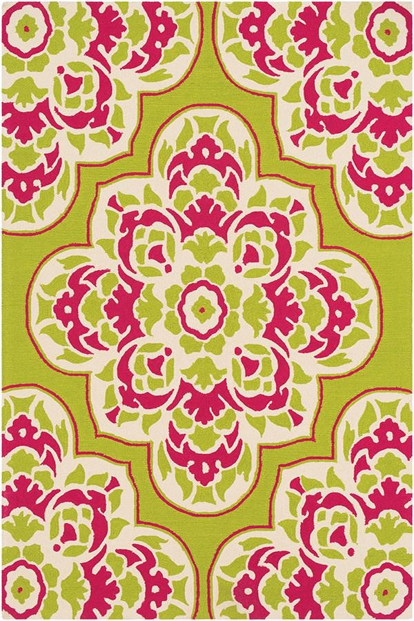 Lime, Bright Pink, Cream Outdoor / Indoor Area Rug
