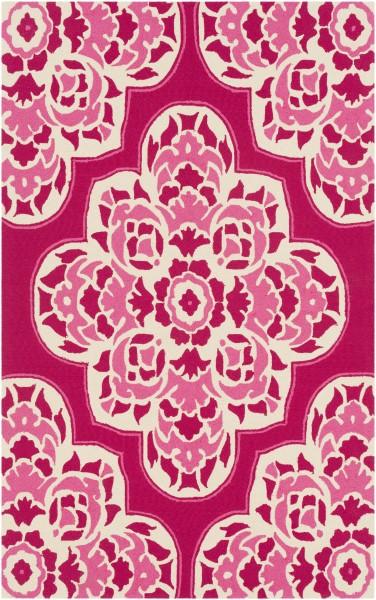 Bright Pink, Bright Pink, Cream Outdoor / Indoor Area Rug