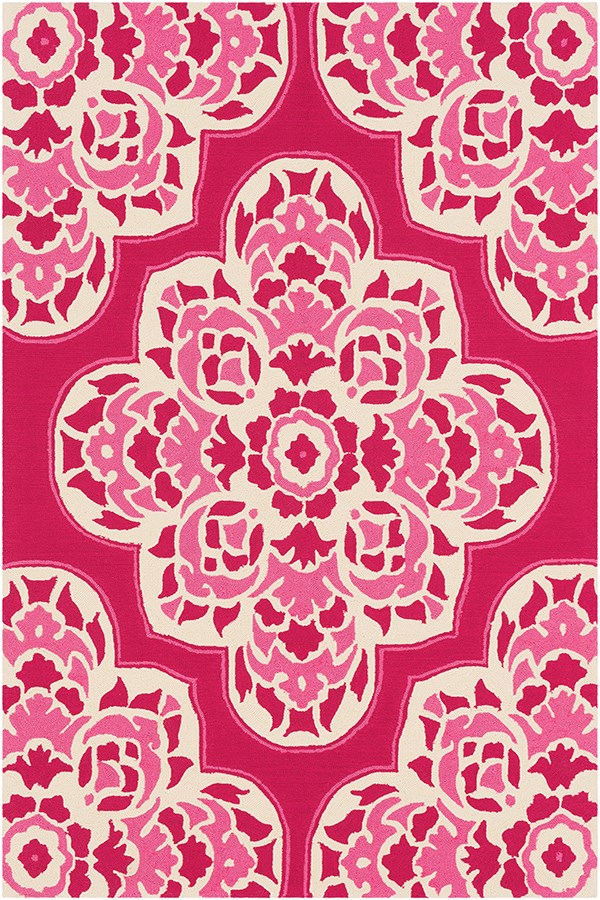 Bright Pink, Bright Pink, Cream Outdoor / Indoor Area Rug