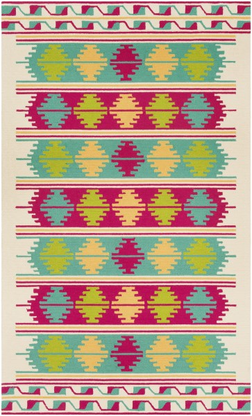 Emerald, Bright Pink, Lime Outdoor / Indoor Area Rug