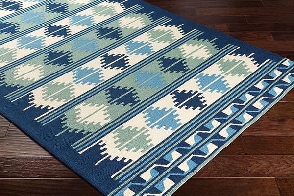 Navy, Sky Blue, Mint Outdoor / Indoor Area Rug