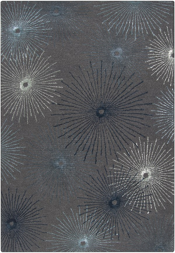 Silvered Gray, Teal Blue Contemporary / Modern Area Rug