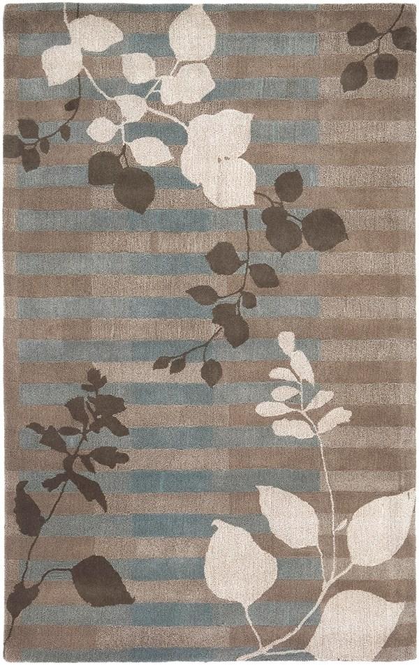 Ivory, Light Grey. Dark Brown Floral / Botanical Area Rug