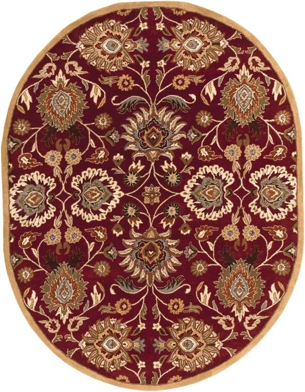 Burgundy, Taupe, Tan, Burnt Orange Traditional / Oriental Area Rug