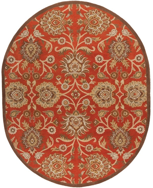 Burnt Orange, Khaki, Camel, Olive Traditional / Oriental Area Rug