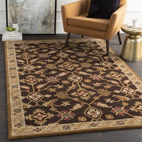 Dark Brown, Camel, Rust, Black Traditional / Oriental Area Rug
