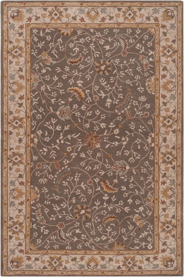 Medium Gray, Camel, Dark Brown, Charcoal Traditional / Oriental Area Rug