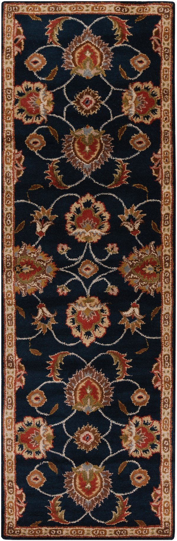 Navy, Khaki, Rust, Dark Brown Traditional / Oriental Area Rug