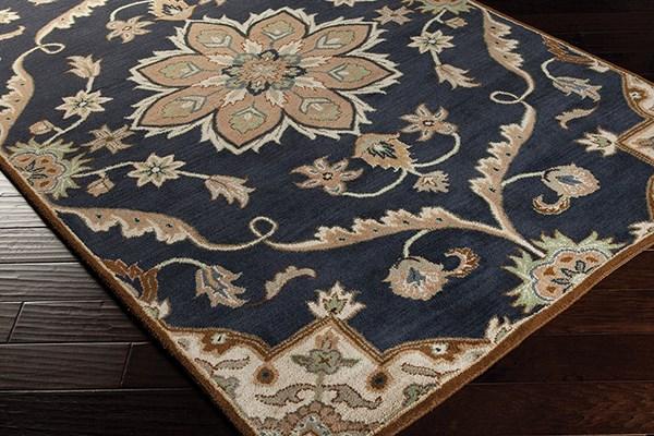 Navy, Taupe, Tan, Dark Brown, Sage Traditional / Oriental Area Rug