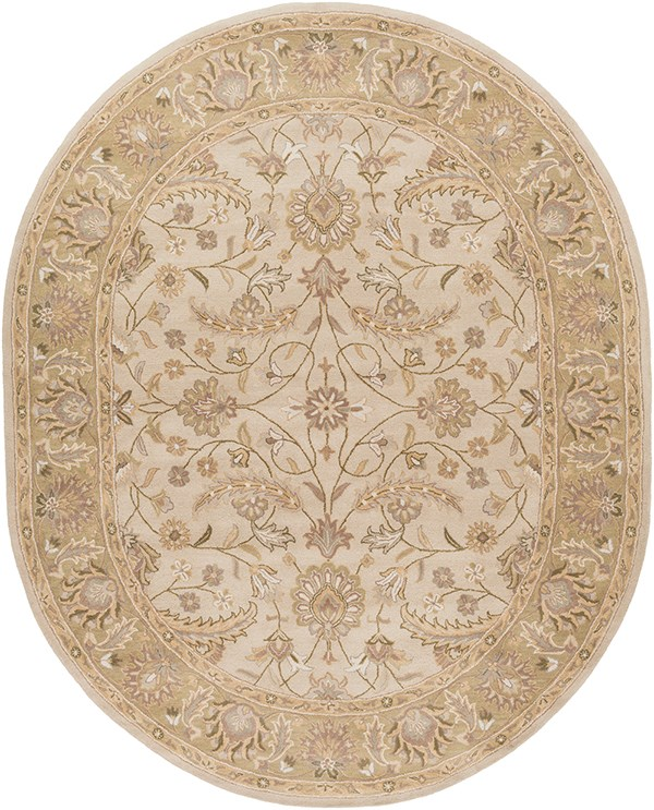 Ivory, Dark Green, Light Gray, Sage, Taupe Traditional / Oriental Area Rug