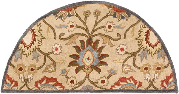 Khaki, Ivory, Rust, Denim, Burnt Orange Traditional / Oriental Area Rug