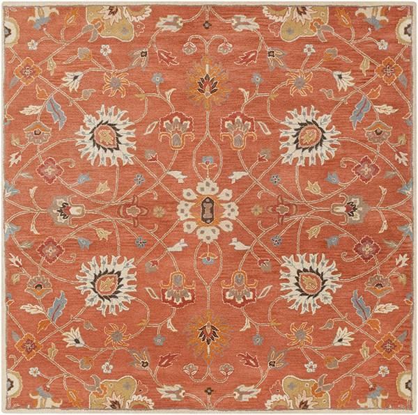 Burnt Orange, Camel, Khaki, Aqua, Tan Traditional / Oriental Area Rug