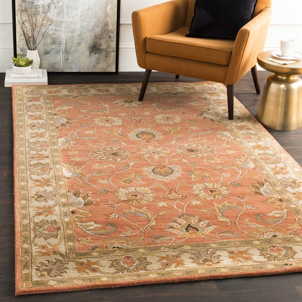 Burnt Orange, Camel, Aqua, Medium Gray Traditional / Oriental Area Rug