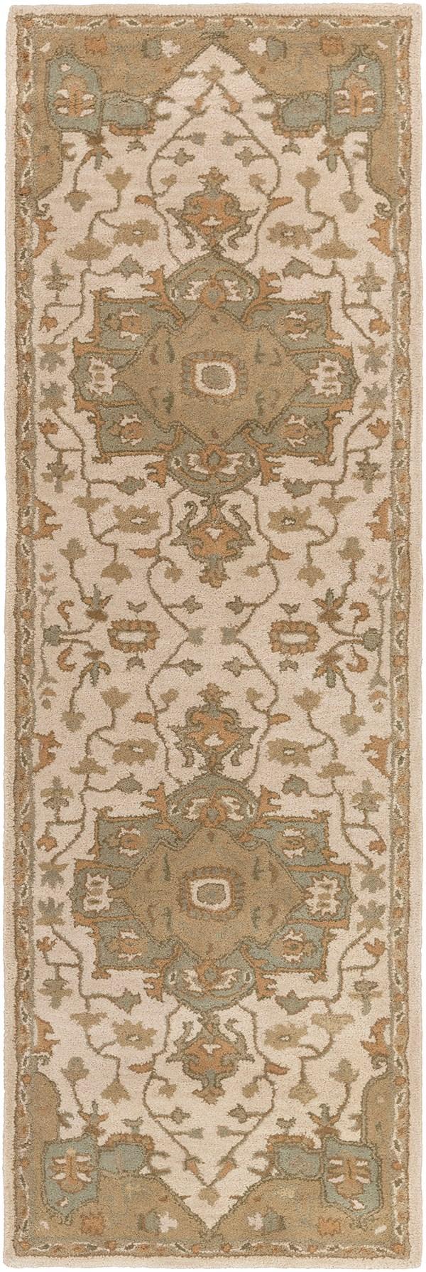 Khaki, Medium Gray, Dark Brown Traditional / Oriental Area Rug