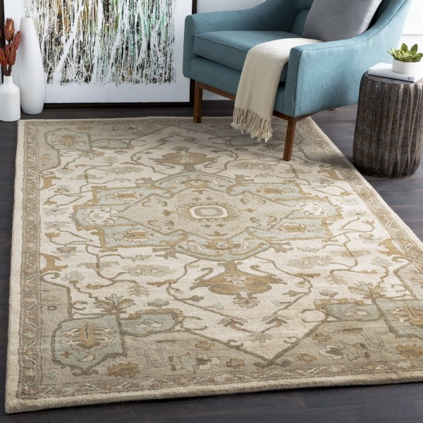 Khaki, Medium Gray, Dark Brown Traditional / Oriental Area Rug