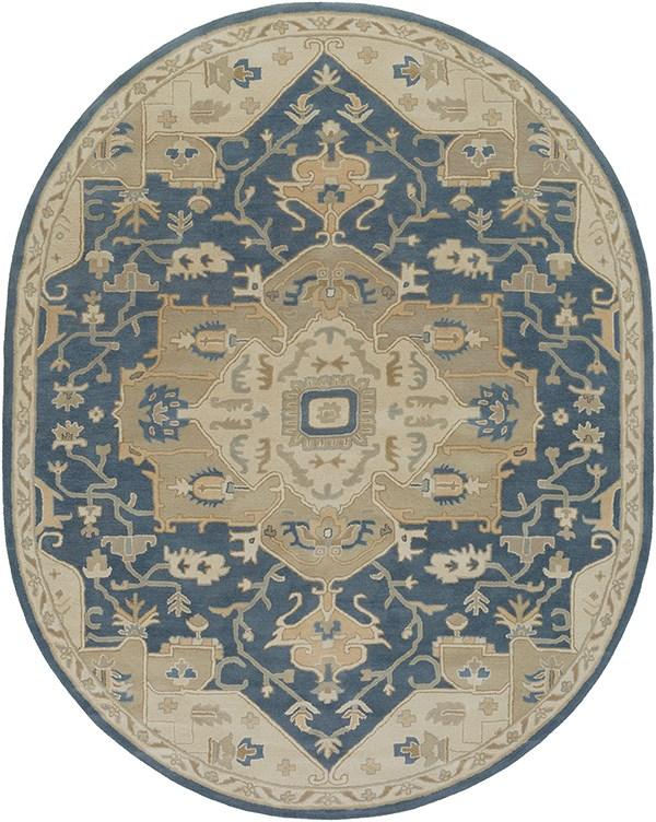 Tan, Navy, Ivory, Medium Gray Traditional / Oriental Area Rug