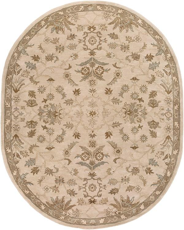 Khaki, Medium Gray, Light Gray, Dark Brown Traditional / Oriental Area Rug