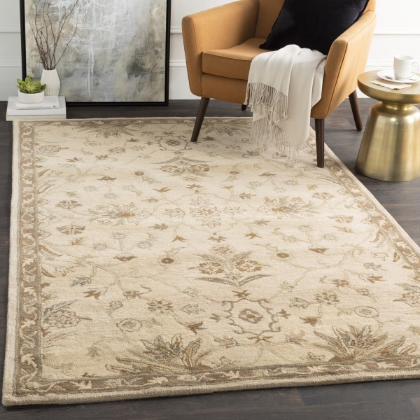 Khaki, Medium Gray, Light Gray, Dark Brown Traditional / Oriental Area Rug