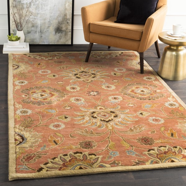 Coral, Khaki, Dark Brown Traditional / Oriental Area Rug