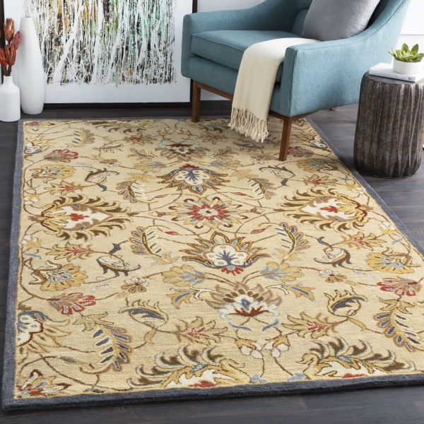Butter, Tan, Burnt Orange, Gray, Charcoal Traditional / Oriental Area Rug
