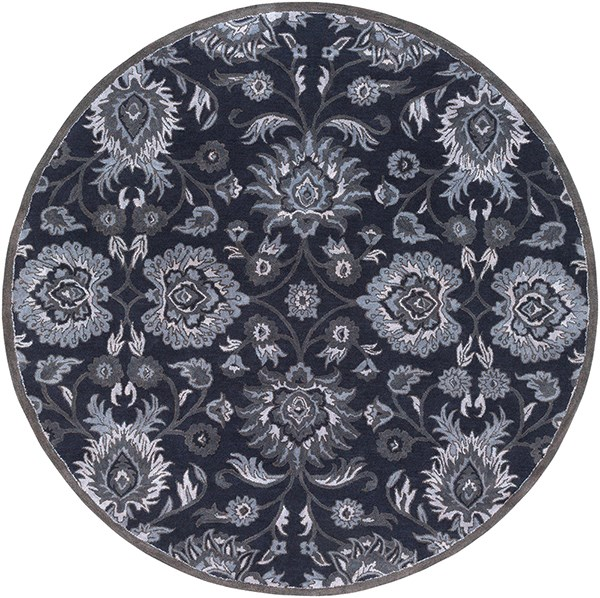 Navy, Charcoal, Medium Gray, Denim Traditional / Oriental Area Rug