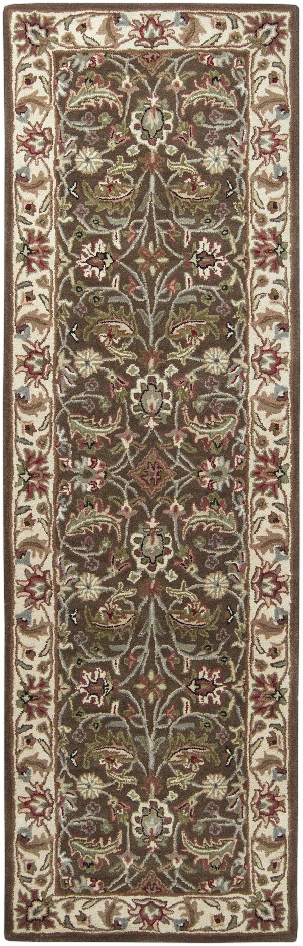 Dark Brown, Sage, Bright Red, Black Traditional / Oriental Area Rug