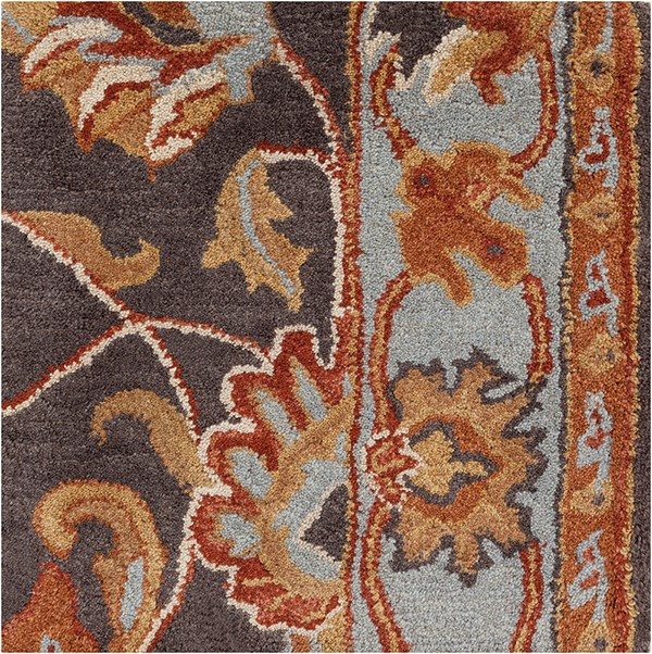 Charcoal, Pale Blue, Camel, Peach Traditional / Oriental Area Rug